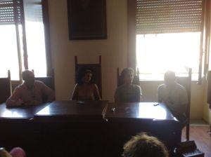 I quattro partecipanti a Bicinuragica 2012. Da sinistra Ugo Magnanti, Sonia Topazio, Daniele Contardo, Fabrizio Lenza